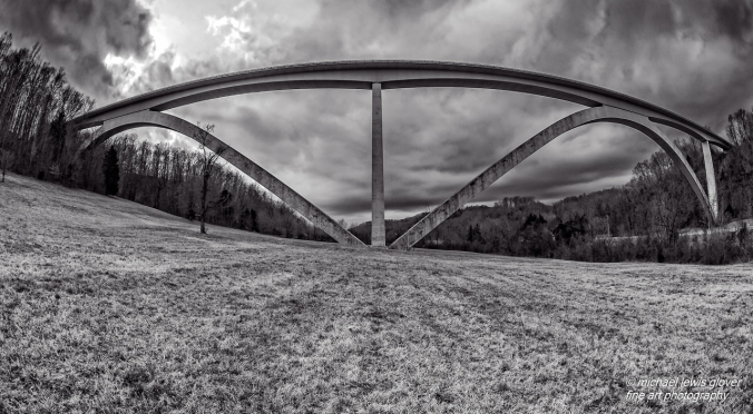 A low angle view of the double arch bridge in Franklin, Tennessee.